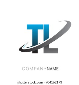 initial letter TL logotype company name colored blue and grey swoosh design. logo design for business and company identity.