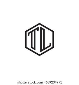 Initial letter TL, minimalist line art monogram hexagon logo, black color