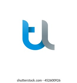 initial letter tl modern linked circle round lowercase logo blue gray