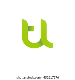 initial letter tl modern linked circle round lowercase logo green