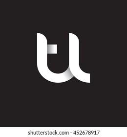 initial letter tl modern linked circle round lowercase logo white black