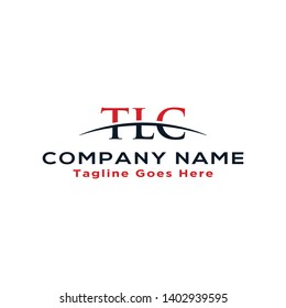 Initial letter TLC, overlapping movement swoosh horizon logo company design inspiration in red and dark blue color vector