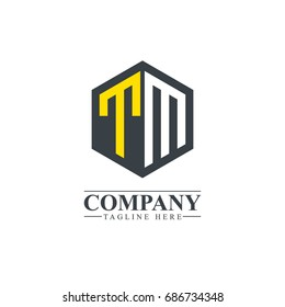 Initial Letter TM Hexagonal Design Logo
