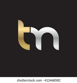 initial letter tm linked round lowercase logo gold silver black background