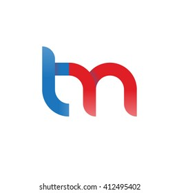 initial letter tm linked round lowercase logo blue red