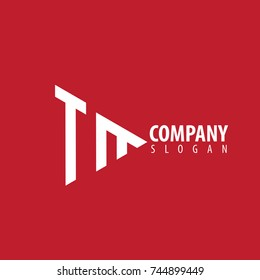Initial Letter TM Linked Triangle Design Logo