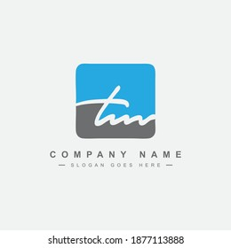 Initial Letter TM signature Logo - Handwritten Vector Logo Template