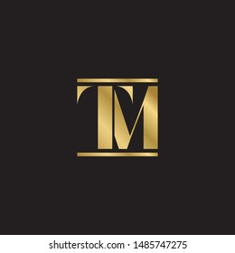 Initial letter tm uppercase modern logo design template elements. Gold letter Isolated on black  background. Suitable for business, consulting group company.
