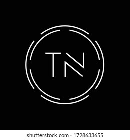 Initial Letter TN Logo Creative Typography Vector Template. Circle Letter TN Logo Design