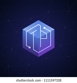 Initial letter TP, block chain, looping mono line circuit letter on hexagon cube logo, blue magenta gradient color on black blue network background