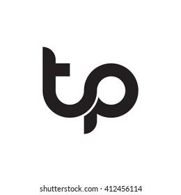 initial letter tp linked round lowercase monogram logo black