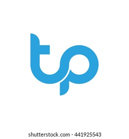 initial letter tp linked round lowercase logo blue