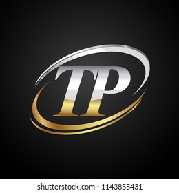 initial letter TP logotype company name colored gold and silver swoosh design. isolated on black background.