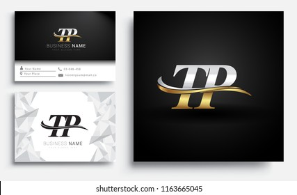 initial letter TP logotype company name colored gold and silver swoosh design. Vector sets for business identity on white background.
