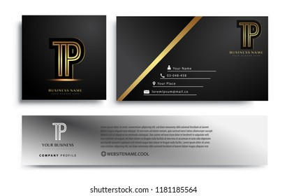 initial letter TP logotype company name colored gold elegant design. Vector sets for business identity on black background.