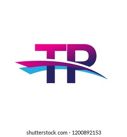 initial letter TP logotype company name colored blue and magenta swoosh design. vector logo for business and company