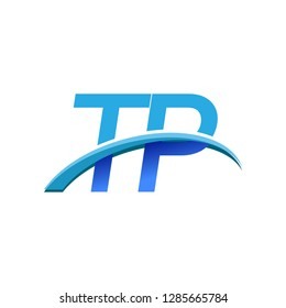 initial letter TP logotype company name colored blue and swoosh design. vector logo for business and company identity.