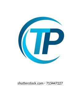 initial letter TP logotype company name blue circle and swoosh design. vector logo for business and company identity.