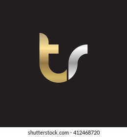 initial letter tr linked round lowercase logo gold silver black background