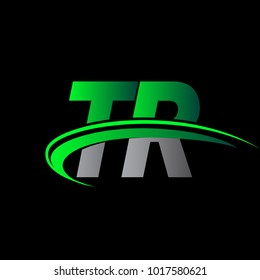 initial letter TR logotype company name colored green and black swoosh design. vector logo for business and company identity.