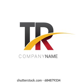 initial letter TR logotype company name colored red, black and yellow swoosh design. isolated on white background.