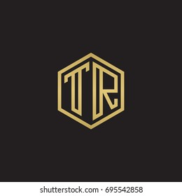 Initial letter TR, minimalist line art hexagon logo, gold color on black background