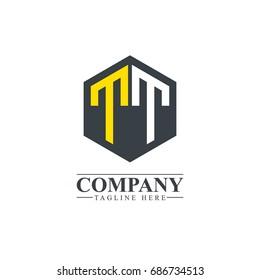 Initial Letter TT Hexagonal Design Logo
