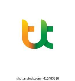 initial letter tt linked round lowercase logo orange green