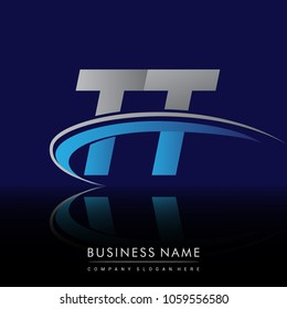 initial letter TT logotype company name colored blue and grey swoosh design. vector logo for business and company identity.