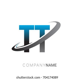 initial letter TT logotype company name colored blue and grey swoosh design. logo design for business and company identity.