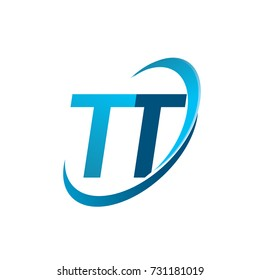 initial letter TT logotype company name colored blue swoosh design concept. vector logo for business and company identity.