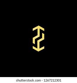 Initial letter TT TH HT minimalist art logo, gold color on black background.
