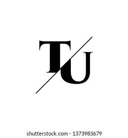 Initial Letter TU Monogram Sliced. Logo template isolated on white background
