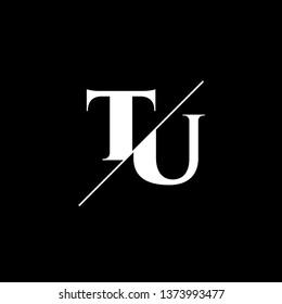 Initial Letter TU Monogram Sliced. Logo template isolated on black background