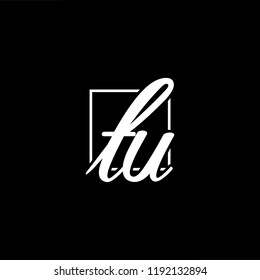 Initial letter TU UT minimalist art monogram shape logo, white color on black background