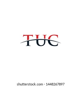 Initial letter TUC, overlapping movement swoosh horizon logo company design inspiration in red and dark blue color vector