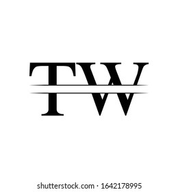 Initial Letter TW Logo Design Vector Template. Linked Typography TW Letter Design
