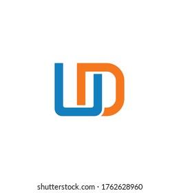 initial letter U and D, UD, DU logo, monogram line art style design template