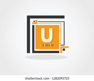 Initial Letter U Design Logo Vector With Box