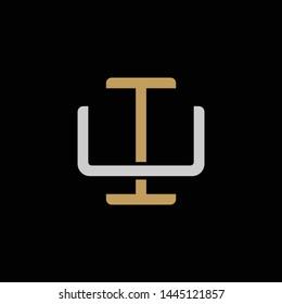 Initial letter U and I, UI, IU, overlapping interlock logo, monogram line art style, silver gold on black background
