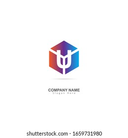 Initial Letter U Logo with Box Element. Design Vector Logo Template