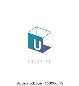 Initial Letter U Logo With Box Element. Design Vector Box Logo Template