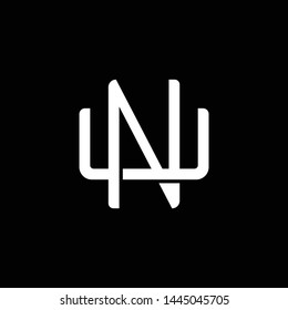 Initial letter U and N, UN, NU, overlapping interlock monogram logo, white color on black background