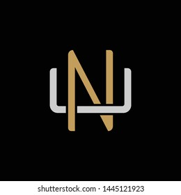 Initial letter U and N, UN, NU, overlapping interlock logo, monogram line art style, silver gold on black background