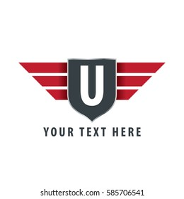 Initial Letter U Shield Icon Design Logo Template