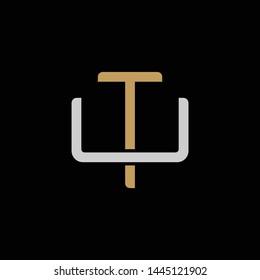 Initial letter U and T, UT, TU, overlapping interlock logo, monogram line art style, silver gold on black background