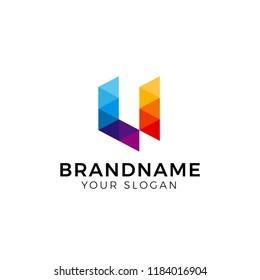 Initial Letter U triangle logo design