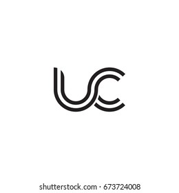 Initial letter uc, linked outline rounded lowercase, monogram black