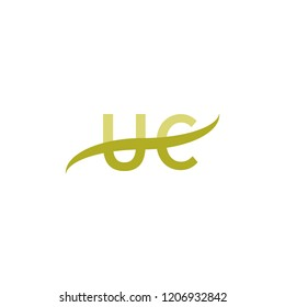 Initial letter UC, overlapping movement swoosh logo, green color on white background