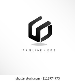 initial letter ud linked logo design with black box icon